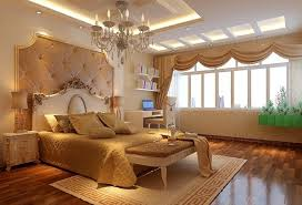 european style bedroom ceiling design with elegant chandelier and cool lighting idea