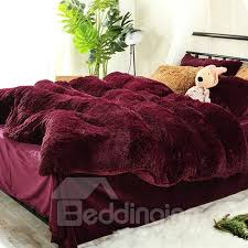 66 full size burdy red super soft plush 4 piece fluffy bedding sets duvet cover