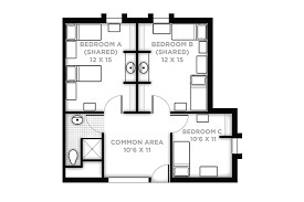 Suite With Two Shared Rooms, One Single Room, Unfurnished Living Room And  Bathroom
