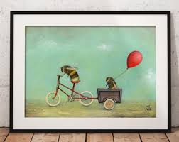 bee art print insect wall art quirky gift idea nursery decor bicycle painting balloon print whimsical art worker bee art bumblebee on wall art printing ideas with wall painting ideas etsy