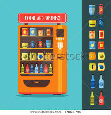 How To Get Free Food From A Vending Machine Simple Vending Machine Food Drink Packaging Set Stock Vector Royalty Free
