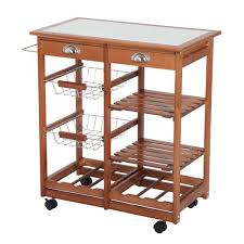 homcom rolling tile top wooden kitchen trolley microwave cart with 6 bottle wine rack