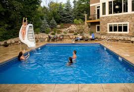 ... Mind Blowing Outdoor Swimming Pool Design Ideas : Amusing House  Backyard Decoration With Rectangular Outdoor Swimming ...
