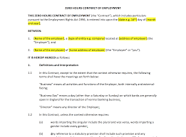 Company Contract Template Zero Hours Contract Template UK Template Agreements And Sample 21