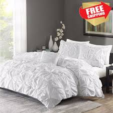 ruched bedding set king size bed white duvet cover shams 4 piece twist