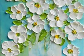 daisy oil painting impasto painting daisy original painting abstract palette knife painting