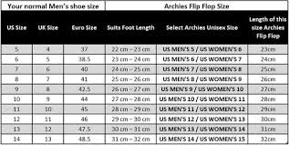 Flip Flop Size Chart Uk Size Guide Archies Footwear United States