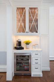 Cw Design Llc White Inset Bar In Kitchen With Lighted Glass Cabinet By Cw