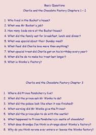 literature unit study ideas for charlie and the chocolate factory  chapter by chapter questions on charlie and the chocolate factory ideal for a