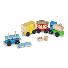 melissa doug cargo train classic wooden toy 4 linking cars approx 12 7 cm long each
