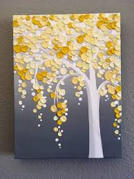 yellow and gray textured tree original acrylic painting on canvas select your size