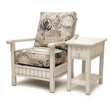 monaco distressed white coastal wood chair sidetable