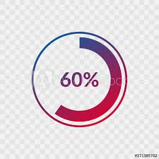 60 Pie Chart 60 Percent Blue And Red Gradient Pie Chart Sign Percentage