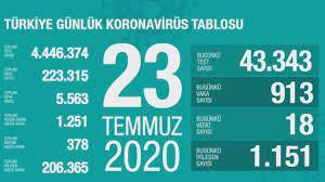 Türkiye'nin günlük corona virüs tablosu (23 Temmuz 2020) - Haberler  Haberleri