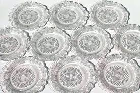 clear plate set glass dessert plates vintage federal depression small of for square