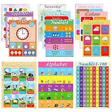 Educational Posters Kids Learning Charts 12 Pcs Preschool Education Posters Perfect For Homeschool Preschool Learning Kindergarten Alphabet