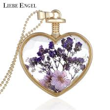 collares dry flower heart crystal glass pendant necklace for best friendship purple