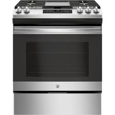 slide in gas range with steam clean oven in stainless