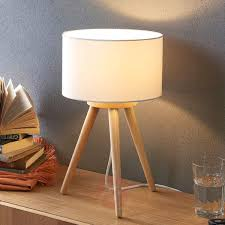 wooden table lamp charlia with white fabric shade