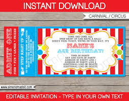 Ticket Invitation Template Carnival Ticket Invitation Template Carnival or Circus Party 1