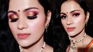 glowing party wedding guest makeup tutorial in hindi purple bronze