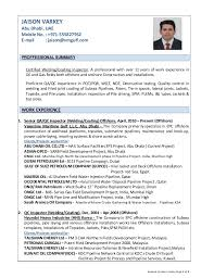 Qc Resume Samples Resume Of Jaison Varkey Qa Qc Inspector Welding Coating