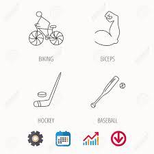 Baseball Signals Chart Biking Biceps And Ice Hockey Icons Baseball Linear Sign Calendar