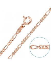 9ct rose gold plated 2mm diamond cut figaro chain