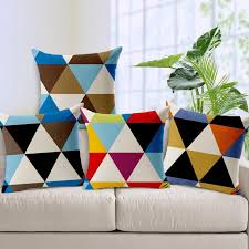 Furniture:Great Looking Home Apartment Design With Square Shape Colorful  Pattern Sofa Cushion Cover And