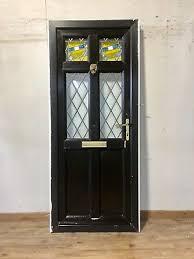 composite black front door exterior grp external upvc pvcu leaded