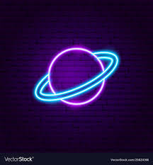Planet Neon Light Saturn Planet Neon Label