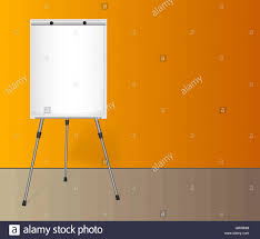 Blank Wall Chart Flip Chart With A Blank Sheet Of Paper Near Colored Wall In