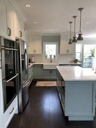 Modern Country Kitchen With Blue Grey And White Two Tone Cabinets