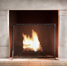 restoration hardware riveted fire screen remodelista fireplace hearth