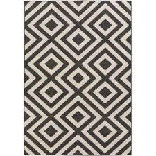 modern rug black. alfresco hand-woven black/cream outdoor area rug modern black -
