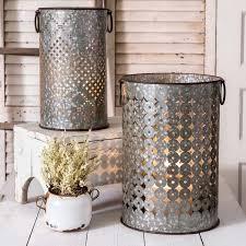 metal storage containers. diamond cut metal storage containers, set of 2 containers