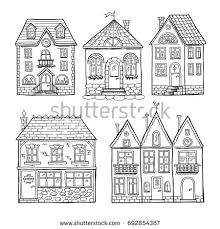 architecture houses sketch. Delighful Sketch Funny Doodle Houses Hand Drawn Illustration Set Architecture House Sketch  Graphic Apartment Building For Houses Sketch R