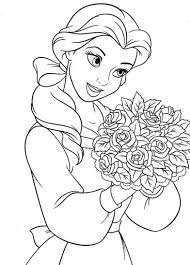 Disegni Da Colorare Principessa Disney Belle Con Fiori Disegni Da