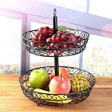 2 tier metal fruit vegetable food basket rack kitchen storage organizer holder