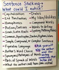 Mentor Sentence Anchor Chart Sentence Stalking Anchor Chart For Using Mentor Sentences In