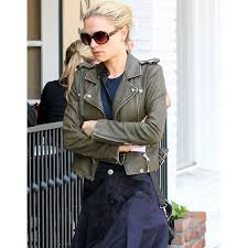 anna paquin olive green cropped leather jacket