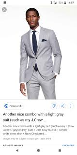Light Grey Trousers Brown Shoes Formal Outfit Light Gray Suit White Shirt Navy Tie Gray