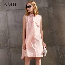 <b>Amii</b> Women <b>Minimalist Dress</b> 2018 100% <b>Cotton</b> Solid Asymmetric ...