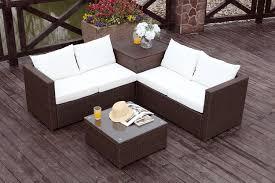 Silang Marron Blanc Salon De Jardin Resine Mobilier De Jardin