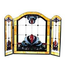 new stained glass fireplace screen or stained glass fire screen glass fireplace screen stained glass fireplace