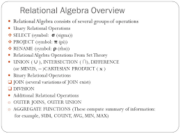 relational algebra symbols the relational algebra and calculus relational algebra overview