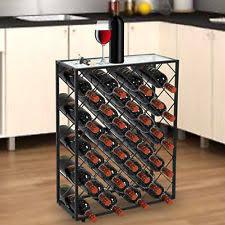 wine rack table. Elegant 32 Bottle Wine Rack W/ Glass Table Top Black Storage Liquor Cabinet
