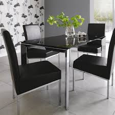 ... Dining Glass And Chrome Table Inspire Q Malden 4 Chair India Matrix 122  Cm Chairs Black ...