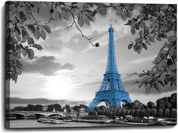 Gray is often considered a bland, boring shade for decorating. Amazon Com Yjyart Blue Paris Eiffel Tower Bathroom Wall Art Wall Decor For Bedroom Prints Picture Modern Popular Framed Wall Decorations Canvas Art Work Easy To Hang Size 12x16 Posters Prints