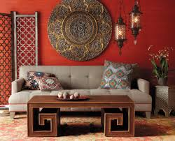 exotic arabian interior for small family room ideas with red wall